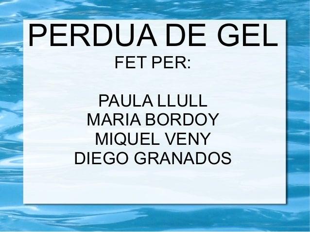 PERDUA DE GEL FET PER: PAULA LLULL MARIA BORDOY MIQUEL VENY DIEGO GRANADOS