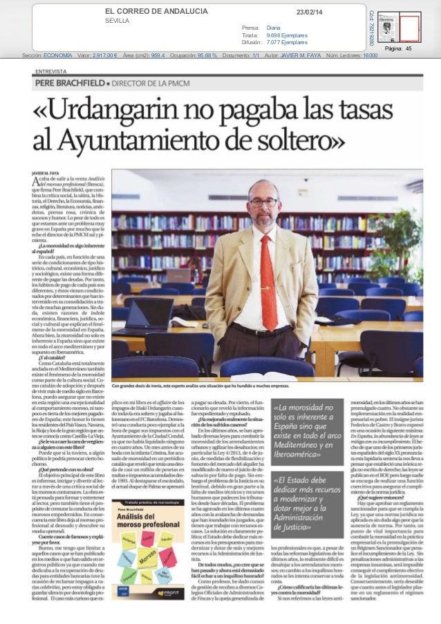 Pere Brachfield: «Urdanganín no pagaba las tasas al ayuntamiento de soltero. (El Correo de Andalucía)