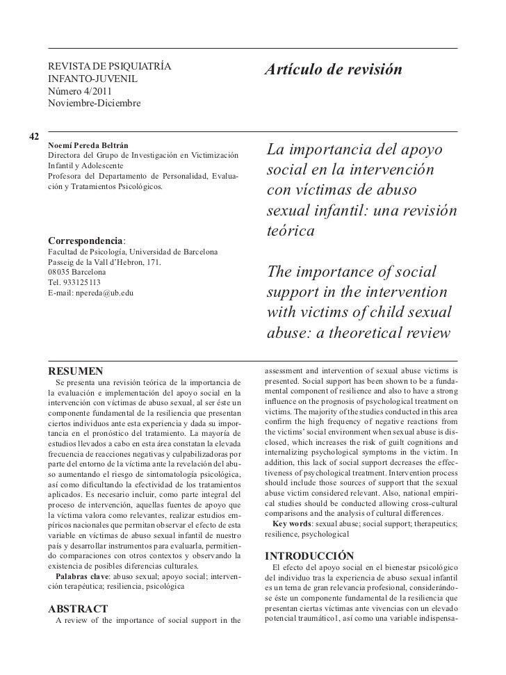 La importancia del apoyo social en la intervención con víctimas de abuso sexual infantil: una revisión teórica por Noemí Pereda - 2011