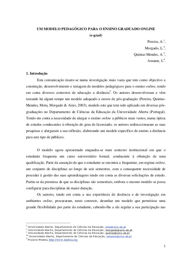 UM MODELO PEDAGÓGICO PARA O ENSINO GRADUADO ONLINE                                               (e-grad)                 ...