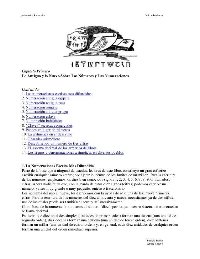 Aritmética Recreativa                                                          Yakov PerelmanCapitulo PrimeroLo Antiguo y ...