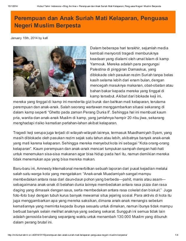 15/1/2014  Hizbut Tahrir Indonesia » Blog Archive » Perempuan dan Anak Suriah Mati Kelaparan, Penguasa Negeri Muslim Berpe...
