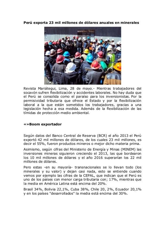 Perú exporta 23 mil millones de dólares anuales en minerales