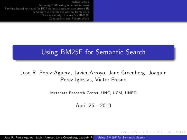 Using BM25F for Semantic Search