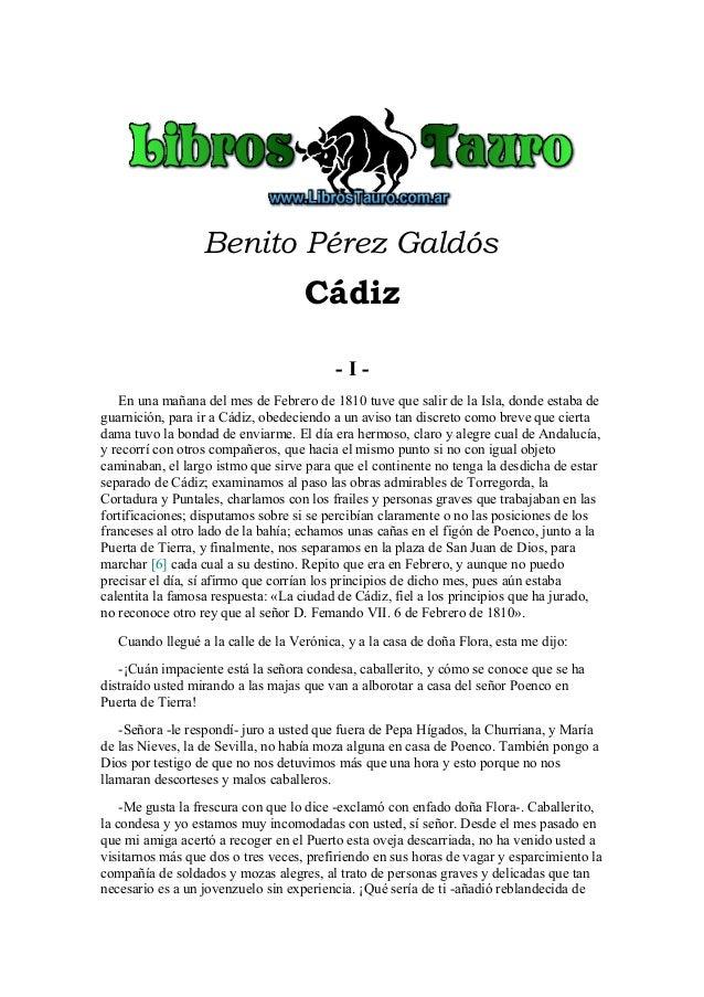 Benito Pérez Galdós                                    Cádiz                                          -I-   En una mañana ...