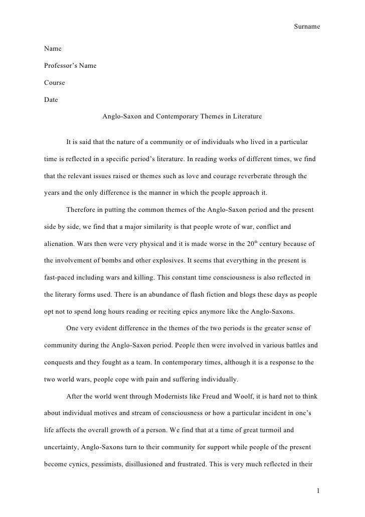writing style apa example essays
