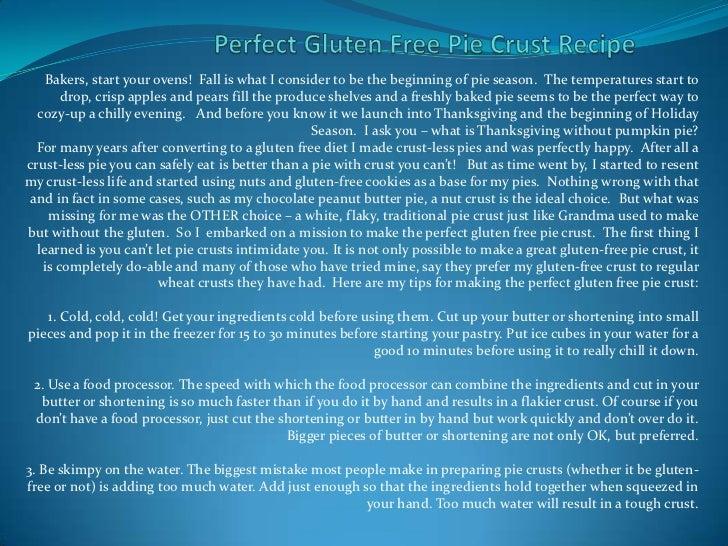 Perfect gluten free pie crust recipe