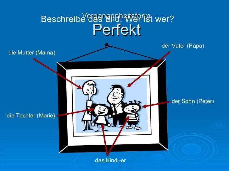 Vergangenheitsform Perfekt Beschreibe das Bild. Wer ist wer? der Vater (Papa) die Mutter (Mama) das Kind,-er die Tochter (...