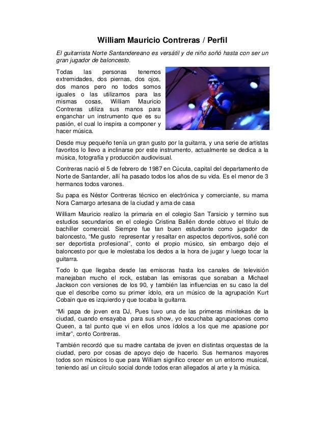 William Mauricio Contreras / Perfil El guitarrista Norte Santandereano es versátil y de niño soñó hasta con ser un gran ju...