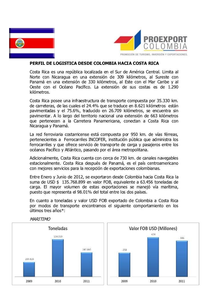 PERFIL DE LOGISTICA DESDE COLOMBIA HACIA COSTA RICACosta Rica es una república localizada en el Sur de América Central. Li...