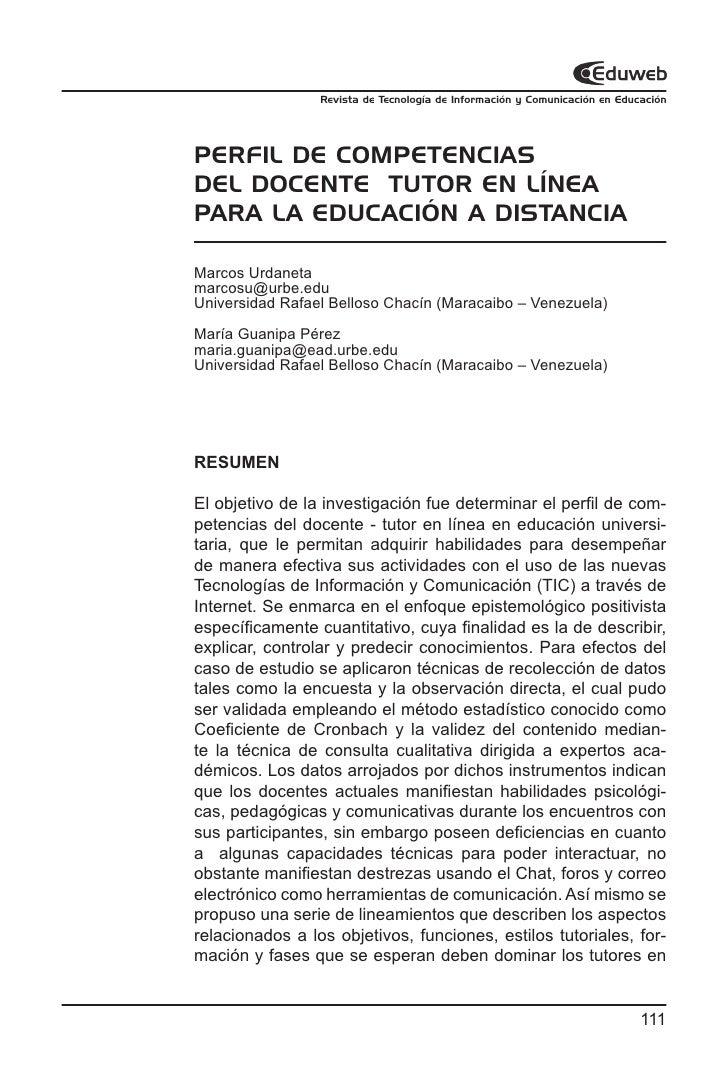 Revista de Tecnología de Información y Comunicación en Educación     PERFIL DE COMPETENCIAS DEL DOCENTE TUTOR EN LÍNEA PAR...
