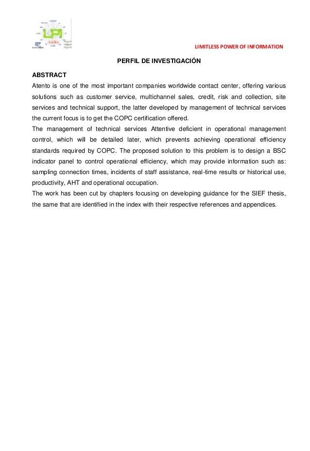 Perfil de investigacion   Tablero BSC para la Gerencia Operativa de Atento