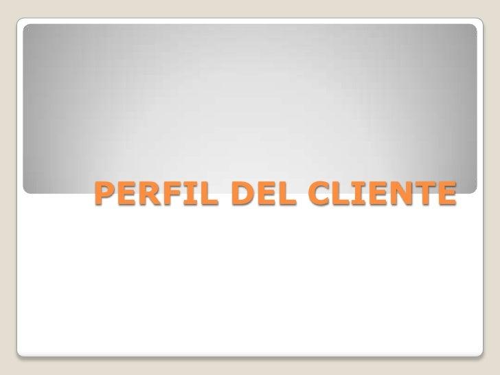 Perfil Del Cliente