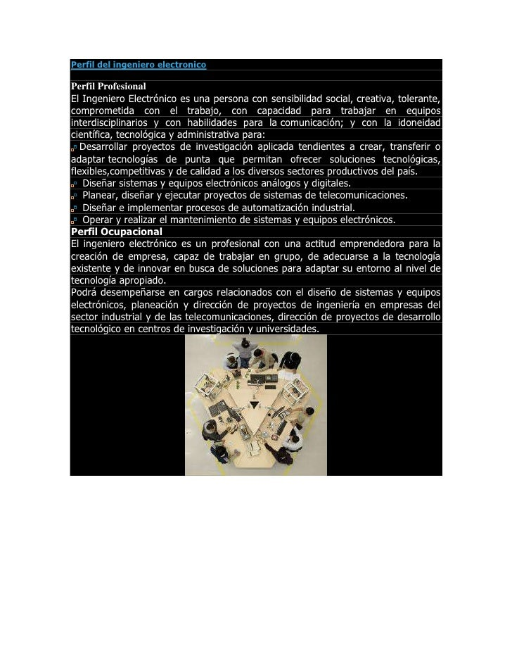 Perfil del ingeniero electronico