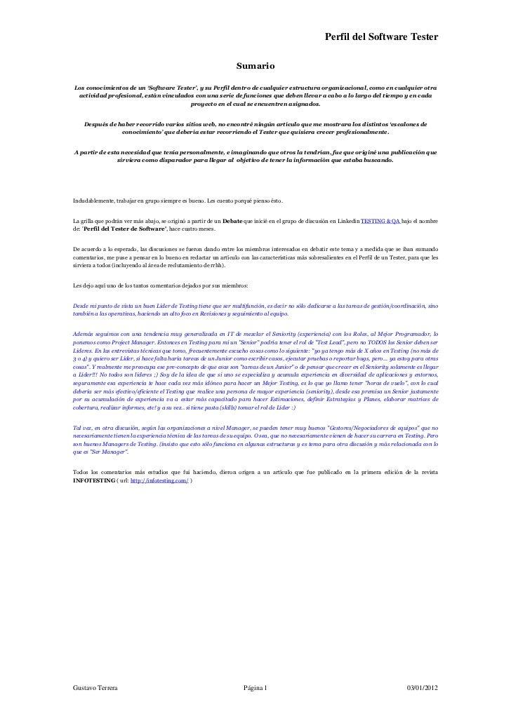 Perfil del Software Tester                                                                  SumarioLos conocimientos de un...