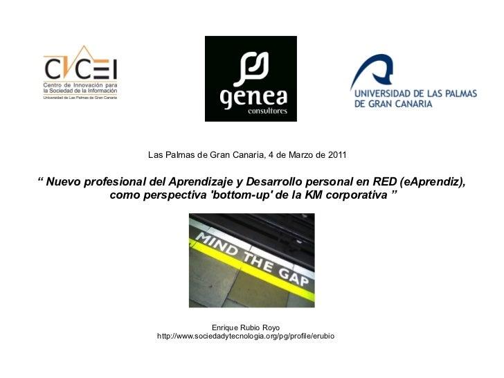 """""""  Nuevo profesional del Aprendizaje y Desarrollo personal en RED (eAprendiz), como  perspectiva 'bottom-up' de la KM corp..."""