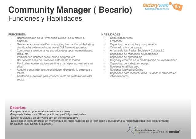 """Community Manager ( Becario) Funciones y Habilidades FUNCIONES: • Representación de la """"Presencia Online"""" de la marca o em..."""