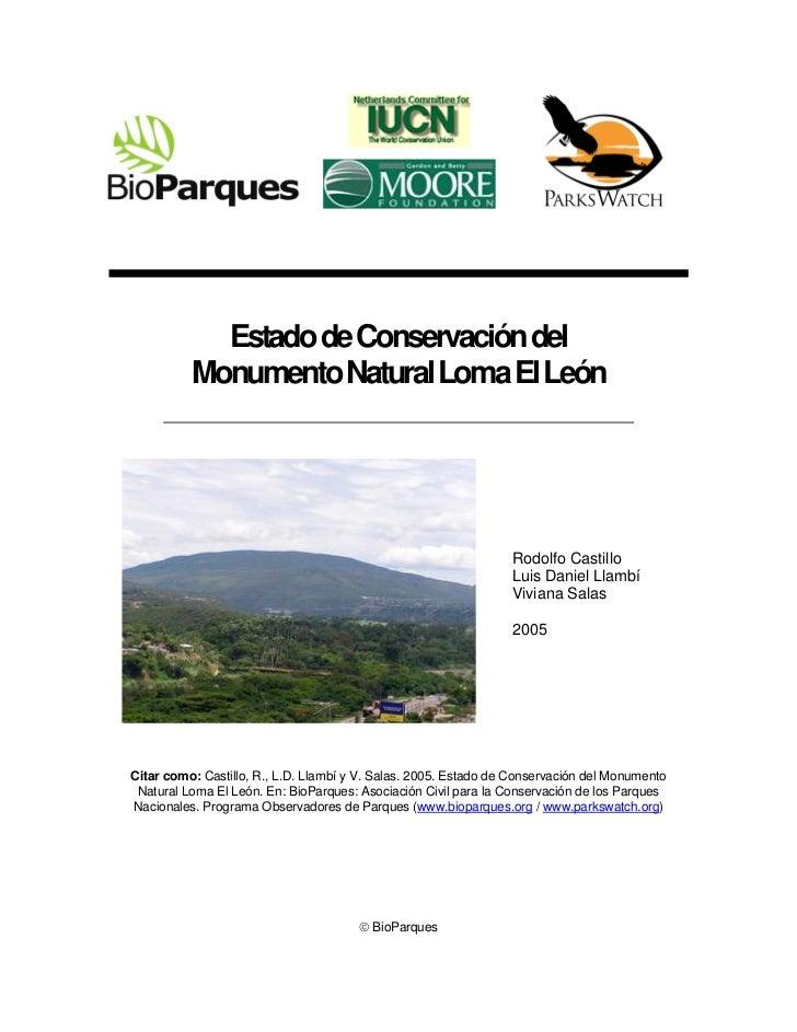 Estado de Conservación del          Monumento Natural Loma El León                                                        ...