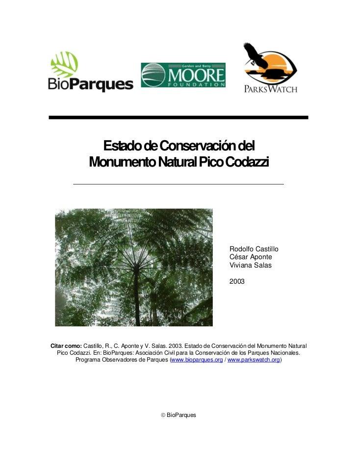 Estado de Conservación del              Monumento Natural Pico Codazzi                                                    ...
