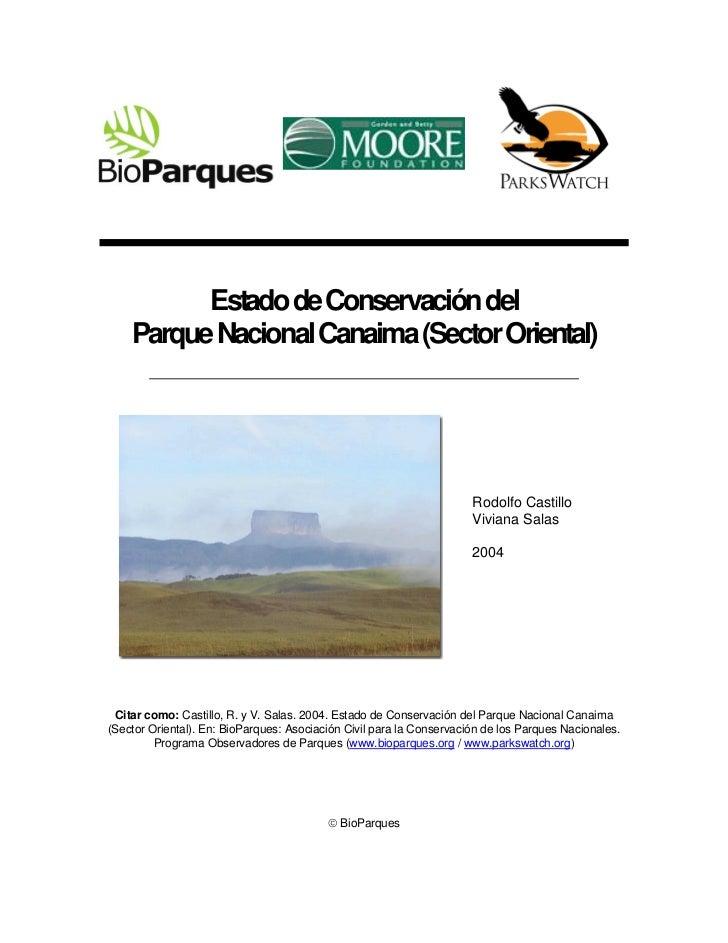 Estado de Conservación del    Parque Nacional Canaima (Sector Oriental)                                                   ...