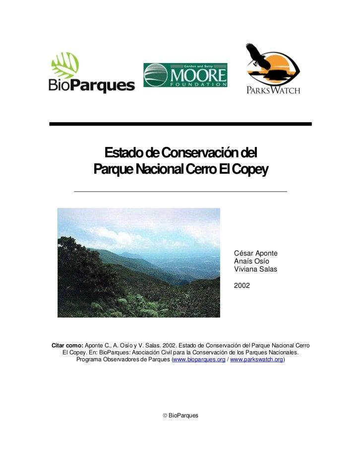 Estado de Conservación del               Parque Nacional Cerro El Copey                                                   ...