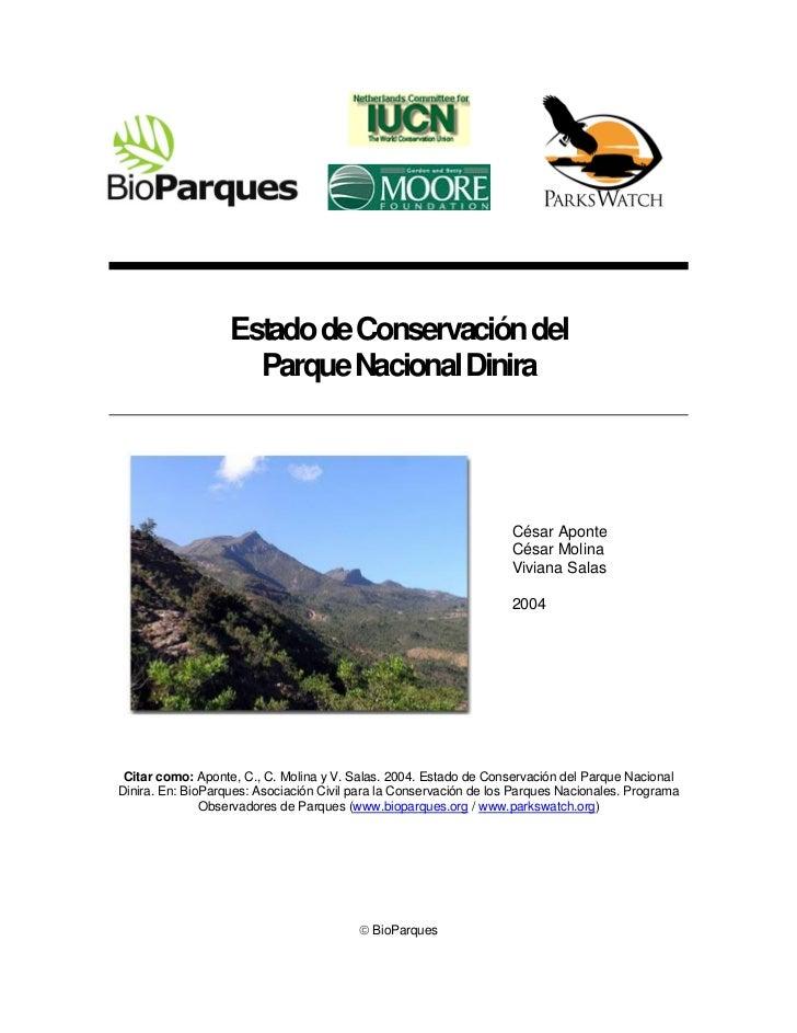 Estado de Conservación del                     Parque Nacional Dinira                                                     ...