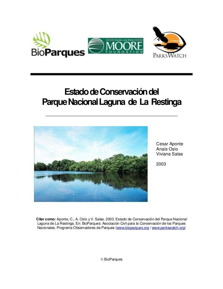 Estado de Conservación del   Parque Nacional Laguna de La Restinga                                                        ...