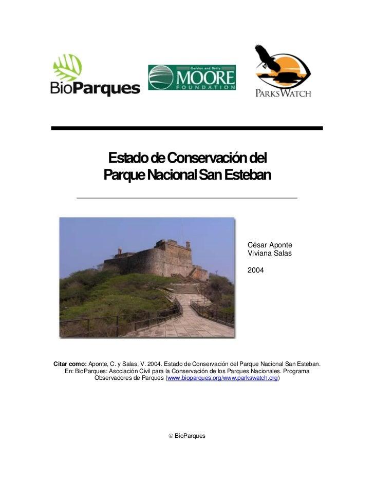 Estado de Conservación del                 Parque Nacional San Esteban                                                    ...