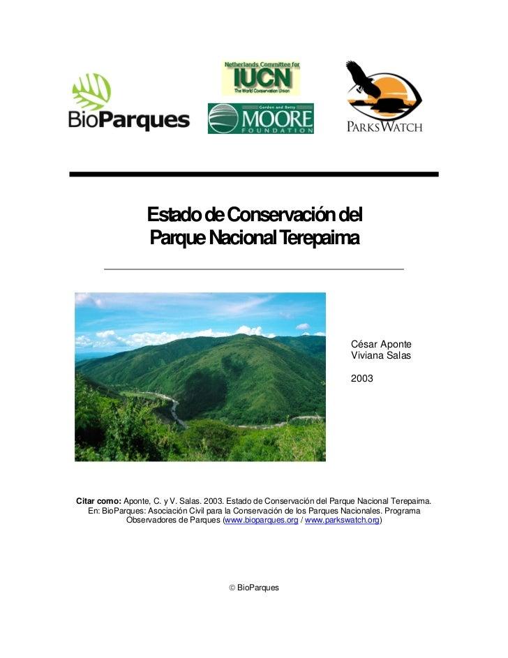 Estado de Conservación del                  Parque Nacional Terepaima                                                     ...