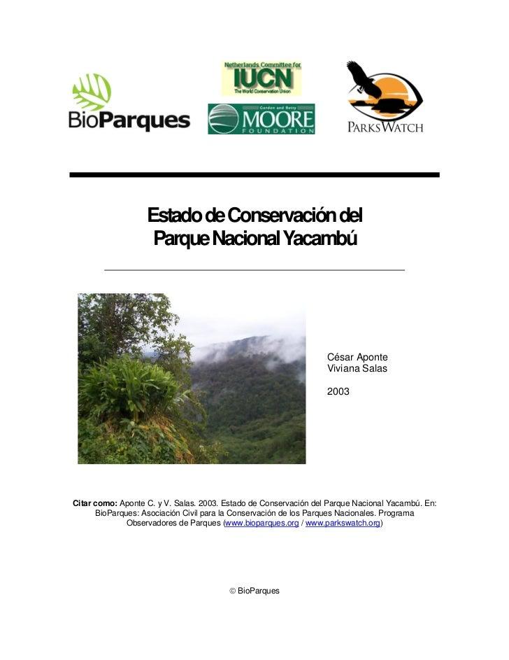 Estado de Conservación del                    Parque Nacional Yacambú                                                     ...