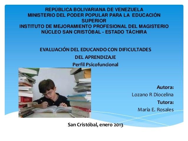 REPÚBLICA BOLIVARIANA DE VENEZUELA   MINISTERIO DEL PODER POPULAR PARA LA EDUCACIÓN                      SUPERIORINSTITUTO...