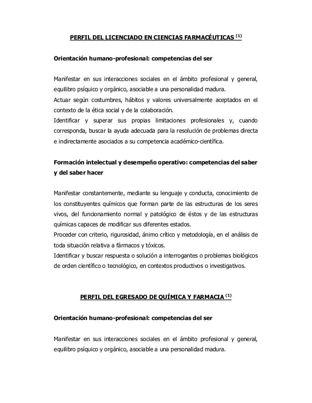 (1)      PERFIL DEL LICENCIADO EN CIENCIAS FARMACÉUTICASOrientación humano-profesional: competencias del serManifestar en ...