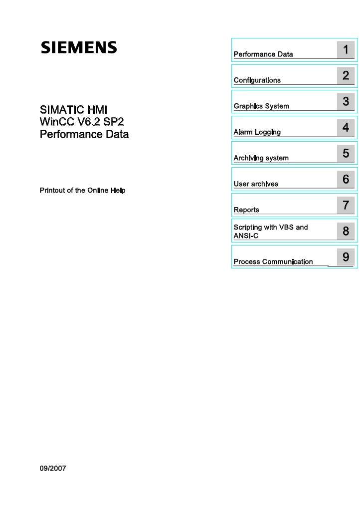 1 SIMATIC HMI WinCC V6.2 SIMATIC HMI WinCC V6.2 Performance Data                                                          ...