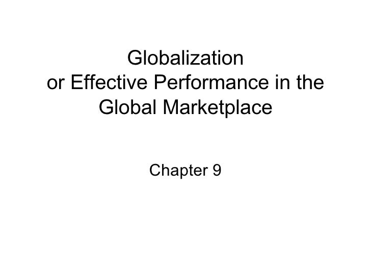 Performance In Global Marketplace Chapt 9