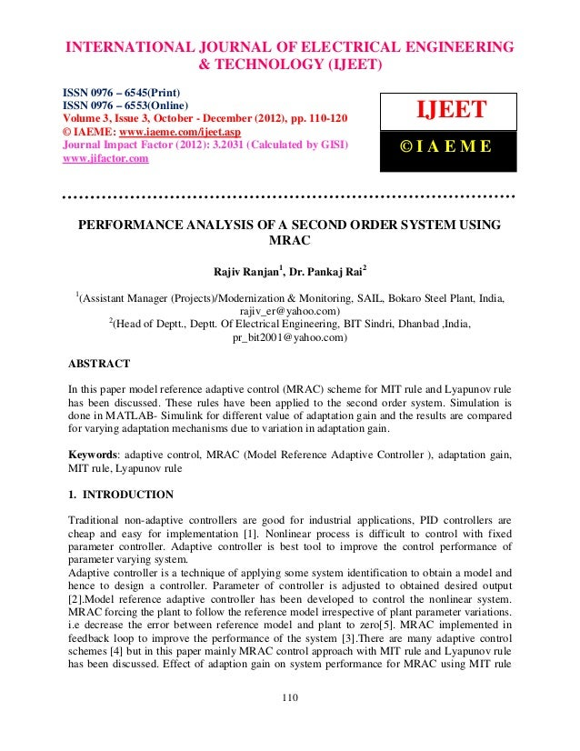 Performance analysis of a second order system using mrac