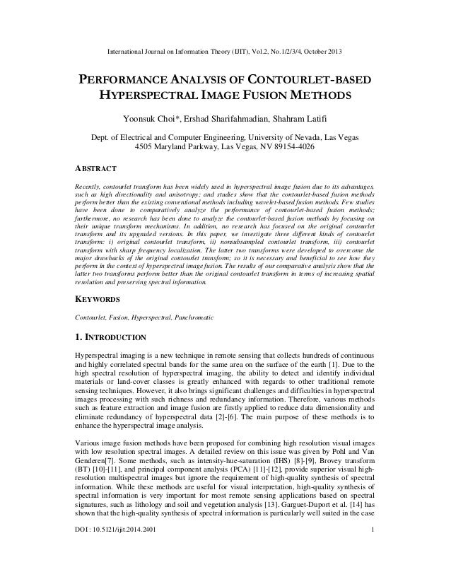 International Journal on Information Theory (IJIT), Vol.2, No.1/2/3/4, October 2013  PERFORMANCE ANALYSIS OF CONTOURLET-BA...