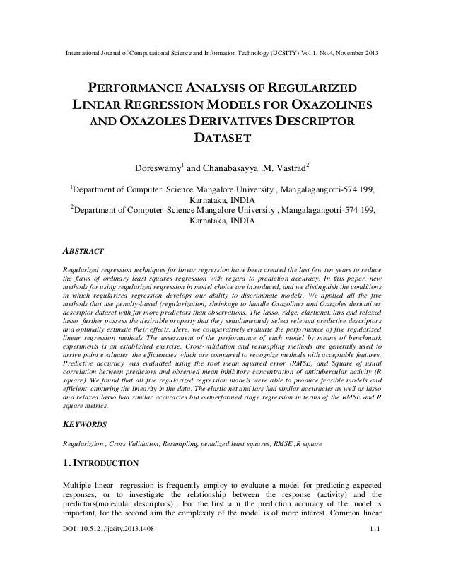 International Journal of Computational Science and Information Technology (IJCSITY) Vol.1, No.4, November 2013  PERFORMANC...