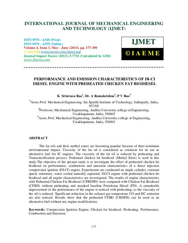 Performance and emission characteristics of di ci diesel engine with pre
