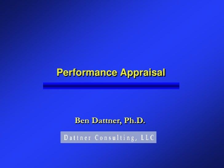 Performance Appraisal       Ben Dattner, Ph.D.