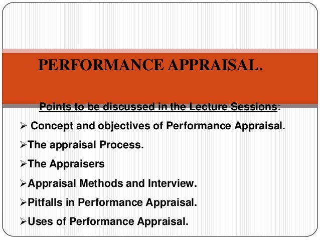 PERFORMANCE APPRAISAL. Points to be discussed in the Lecture Sessions:  Concept and objectives of Performance Appraisal. ...