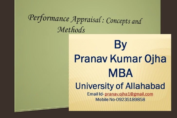 Performance appraisal  concepts and method