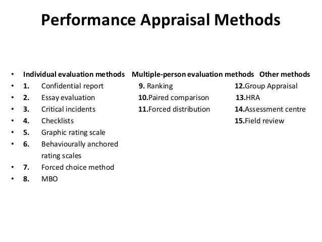individual evaluation methods used for performance appraisal Free online courses on performance and potential appraisal - methods of performance appraisal the performance appraisal methods may be classified into three categories, as shown in figure below figure: performance appraisal methods individual evaluation methods under the individual evaluation methods of merit rating, employees are.