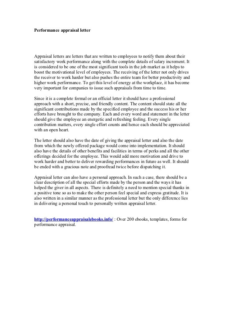 How to write appraisal letter