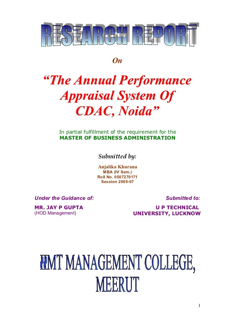 """On   """"The Annual Performance     Appraisal System Of        CDAC, Noida""""         In partial fulfillment of the requirement..."""
