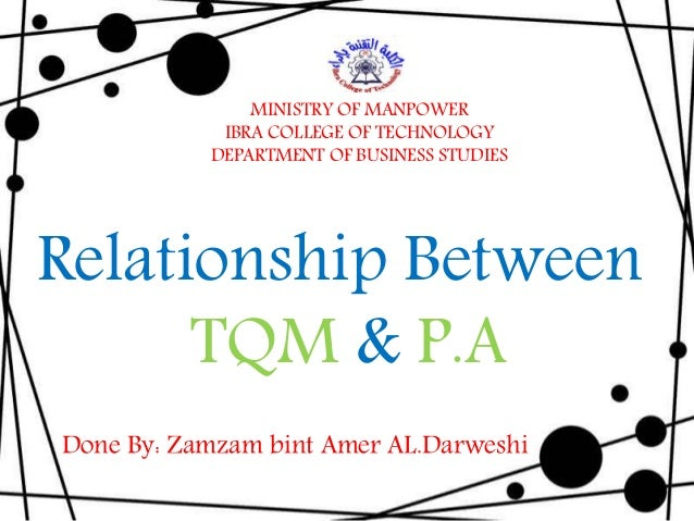 Done By: Zamzam bint Amer AL.Darweshi Relationship Between TQM & P.A MINISTRY OF MANPOWER IBRA COLLEGE OF TECHNOLOGY DEPAR...