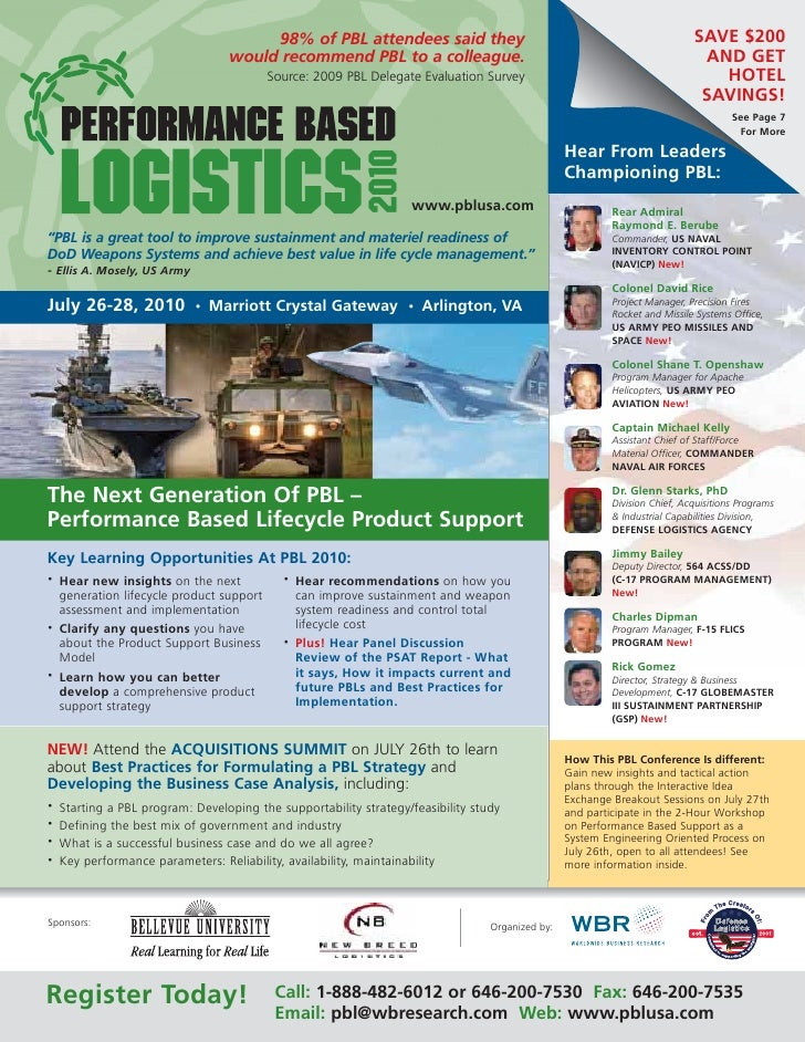 Performance Based Logistics Conference: Extending the lifespan and improving the reliability of today's defense systems