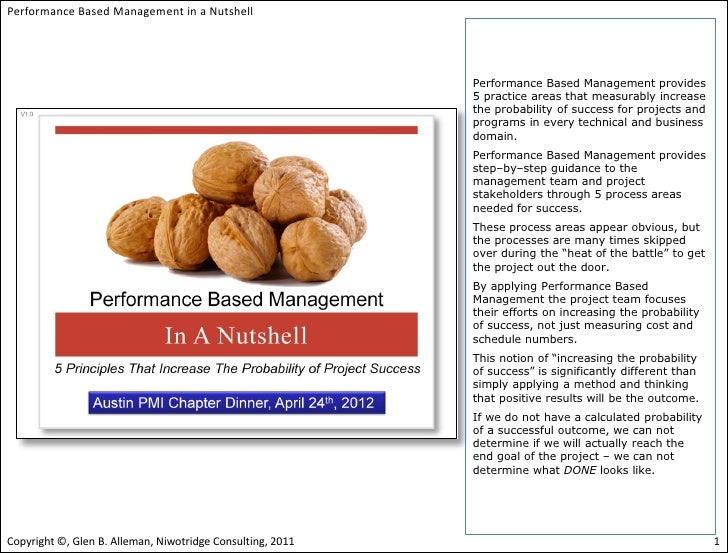 Performance based management in a nut shell (austin pmi)(notes)