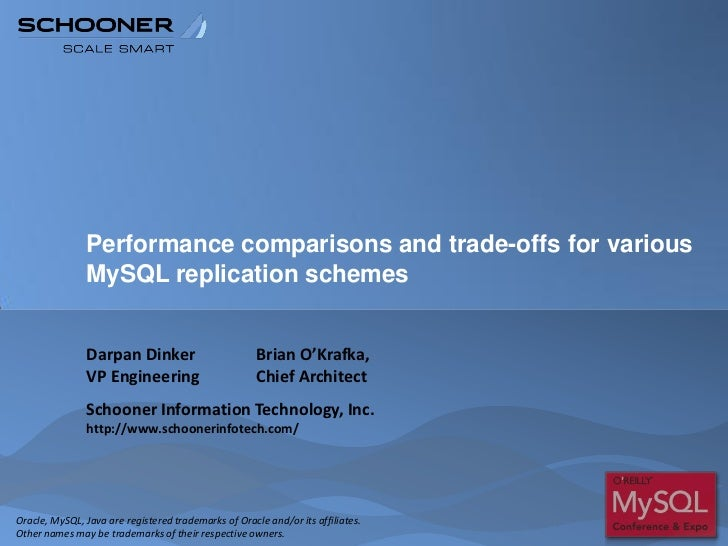 Performance comparisons and trade-offs for various               MySQL replication schemes               Darpan Dinker    ...