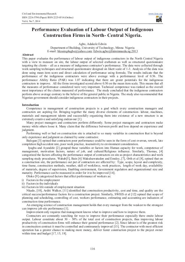Civil and Environmental Research www.iiste.org ISSN 2224-5790 (Paper) ISSN 2225-0514 (Online) Vol.6, No.7, 2014 116 Perfor...