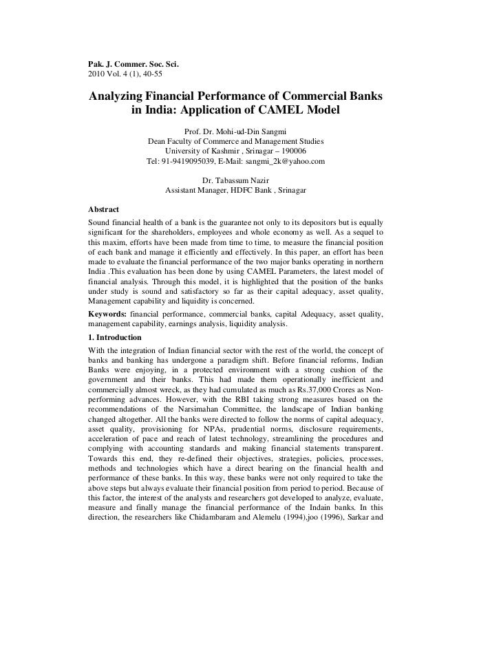 Pak. J. Commer. Soc. Sci.2010 Vol. 4 (1), 40-55Analyzing Financial Performance of Commercial Banks       in India: Applica...